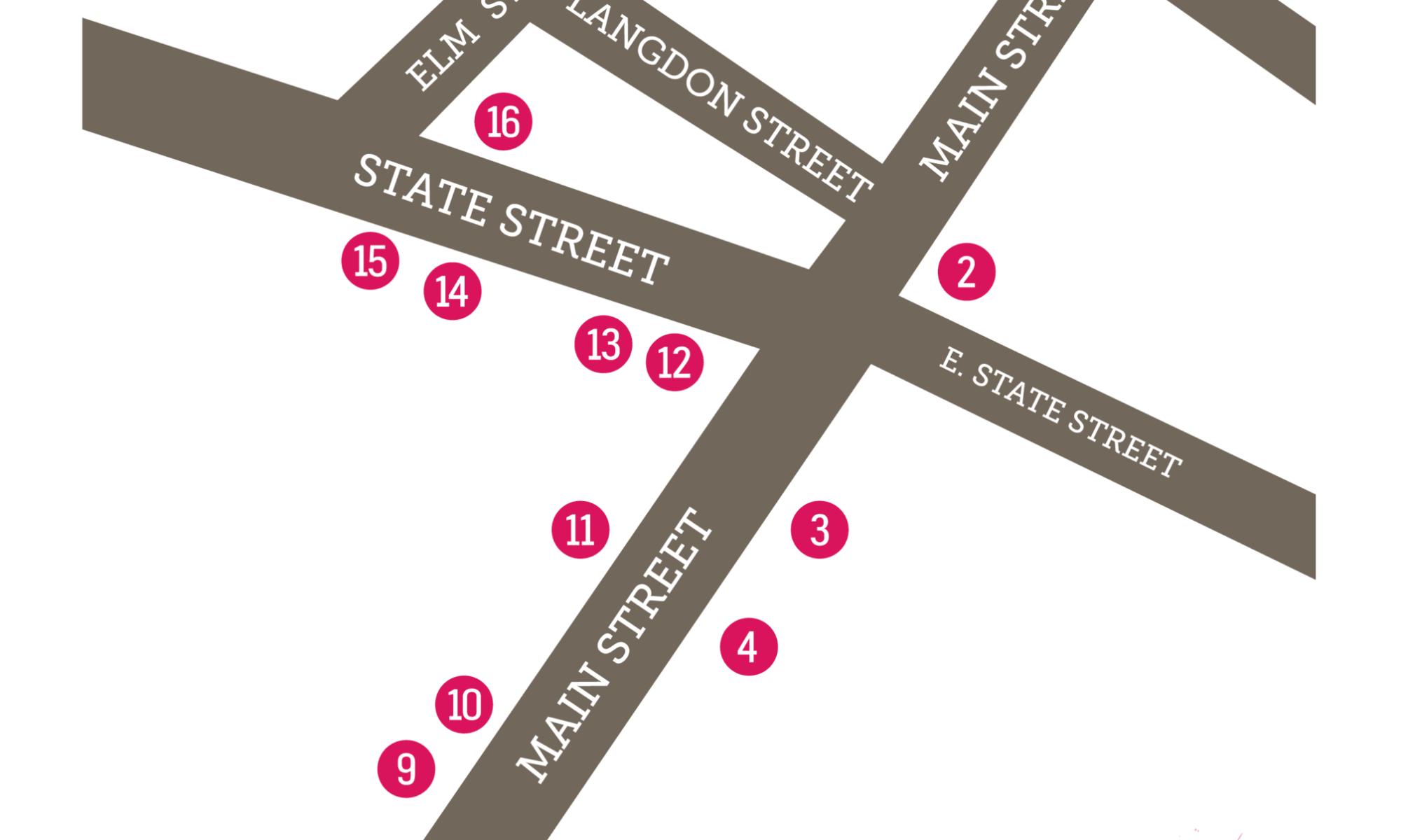 Art Walk Map for June 2021.