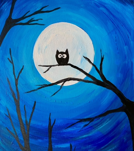 Owl and full moon, painting by Katie O'Rourke